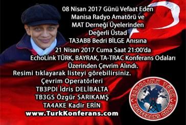 21 Nisan 2017 EchoLink TURK , BAYRAK , TA-TRAC Konferans Odaları Çevrim Listesi
