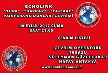 EchoLink Türk, Bayrak, Ta-Trac Konferans Odaları Çevrim Listesi – 08 Eylül 2017 Cuma