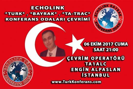 EchoLink Türk, Bayrak, Ta-Trac Konferans Odaları Çevrim Listesi – 06 Ekim 2017 Cuma