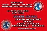 EchoLink Türk, Bayrak, Ta-Trac Konferans Odaları Ortak Telsiz Çevrim Listesi – 26 Ocak 2018 Cuma